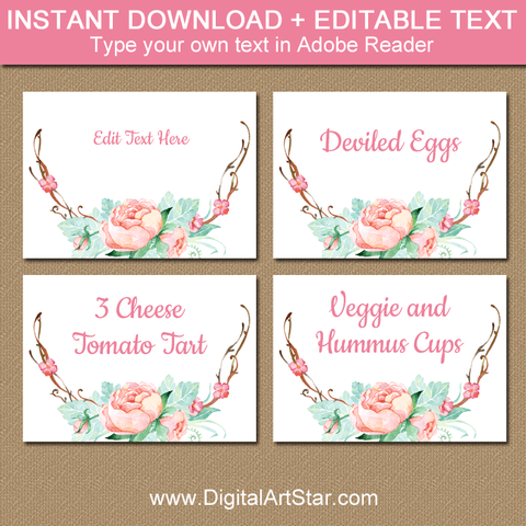 Rustic Floral Graduation Food Labels Template for Girl Graduation Party