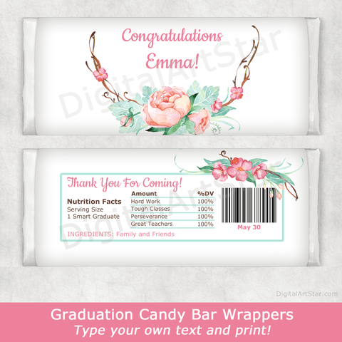 Rustic Floral Graduation Party Favors Printable Candy Bar Wrappers