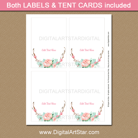 Rustic Floral Graduation Place Cards for Girl Graduation Party