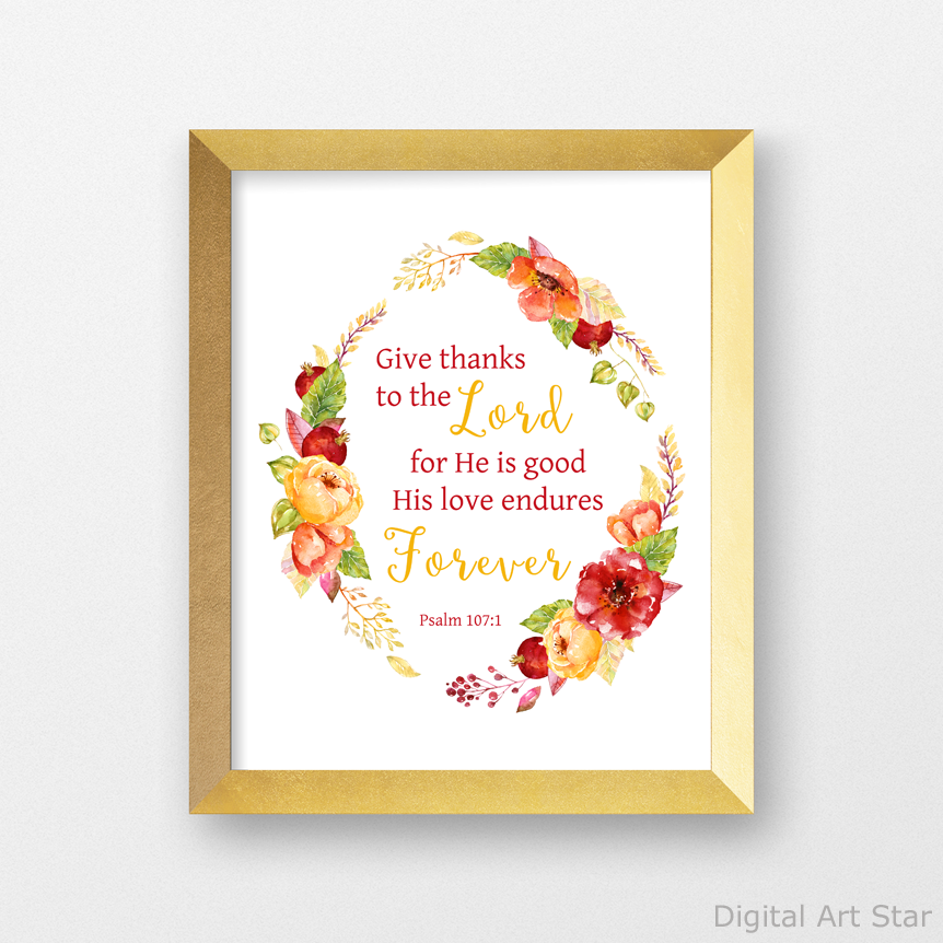 Scripture Floral Wreath Art Print for Fall