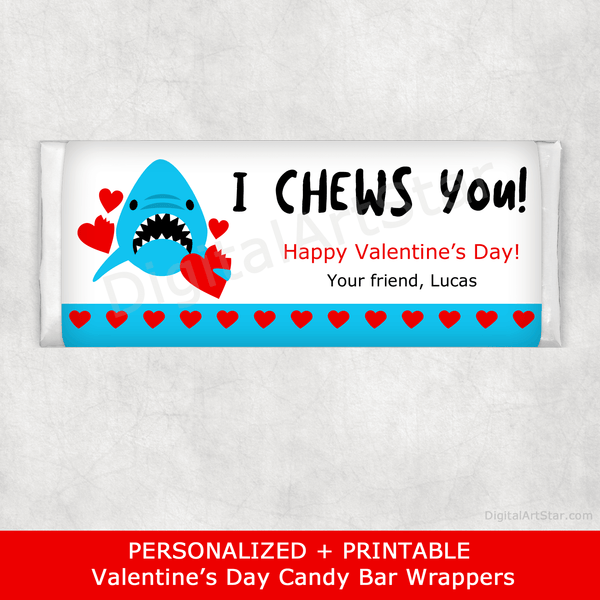 I Chews You Valentines Day Candy Bar Wrappers Personalized