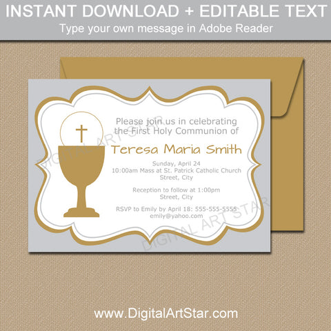 Silver and Gold First Communion Invitations for Boy Girl Twins