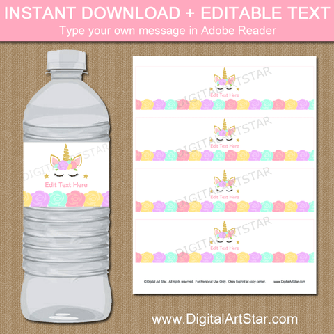 Unicorn Birthday Water Bottle Labels Template