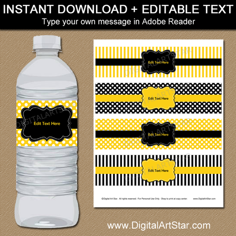 Yellow and Black 50th Birthday Water Bottle Labels Template