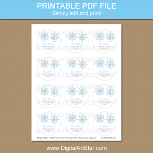 2 Inch Round Printable Address Labels Snowflakes