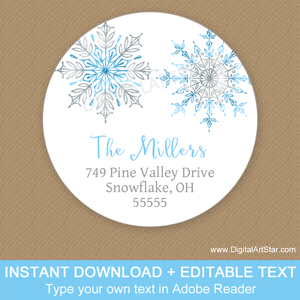 2 Inch Round Snowflake Address Labels Blue Silver White