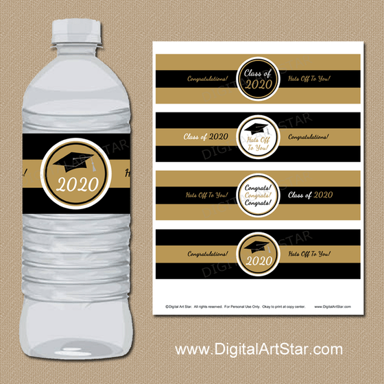 2020 Graduation Instant Download Water Bottle Labels in Black and Gold