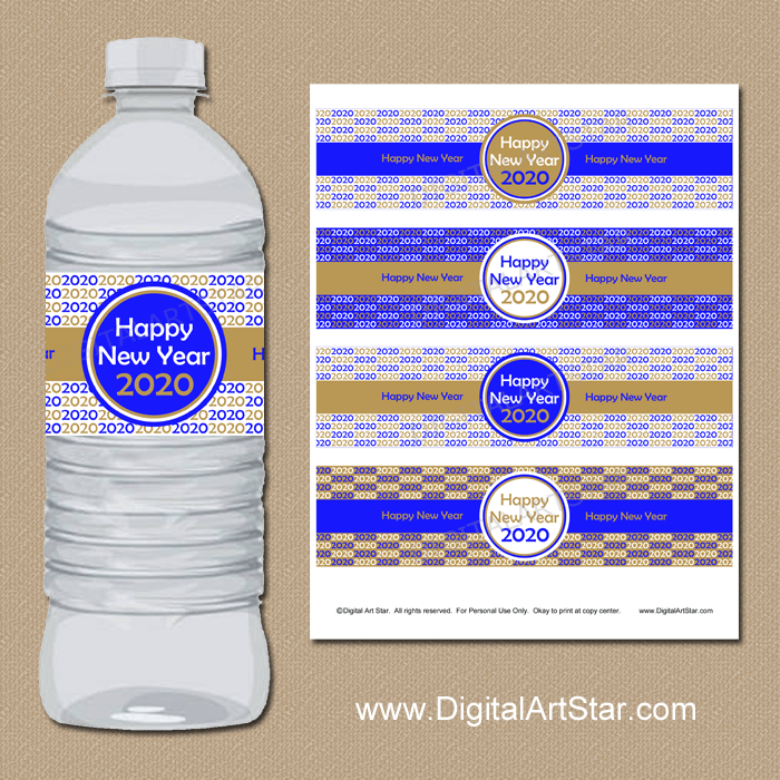 Happy New Year 2020 Water Bottle Labels Printable PDF