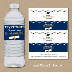 2021 Graduation Water Bottle Labels Navy Blue Gold White