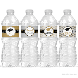 2021 Graduation Water Bottle Labels Gold Silver Black White