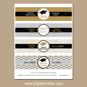 2021 Printable Graduation Water Bottle Labels Silver Gold White Black