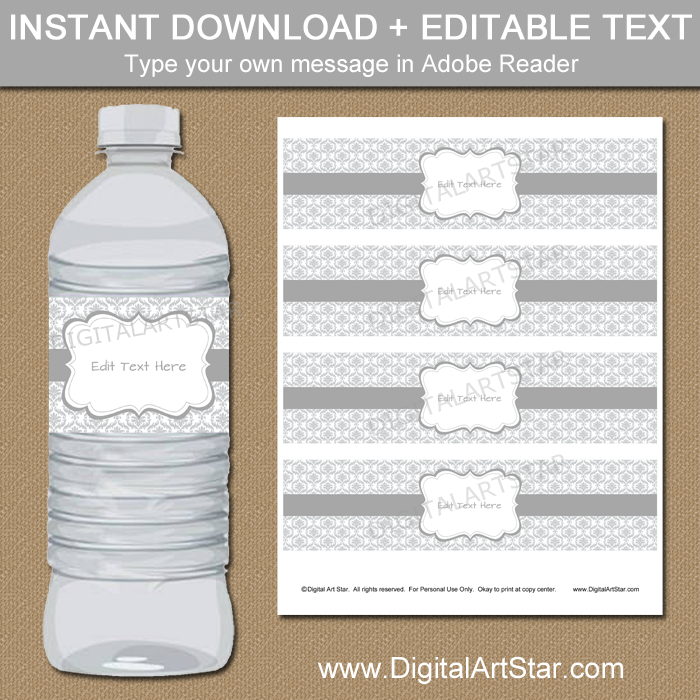 25th Wedding Anniversary Water Bottle Labels