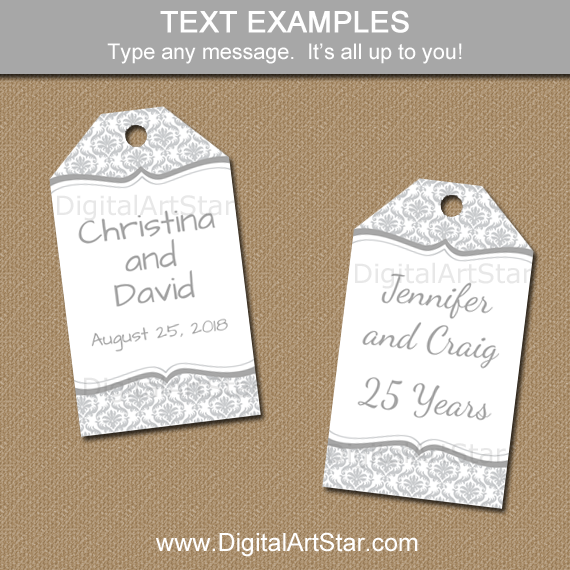 Editable Tags for 25th Anniversary, Wedding, and More