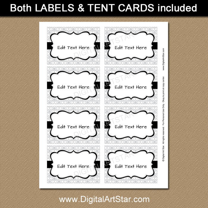 Editable Silver Food Labels