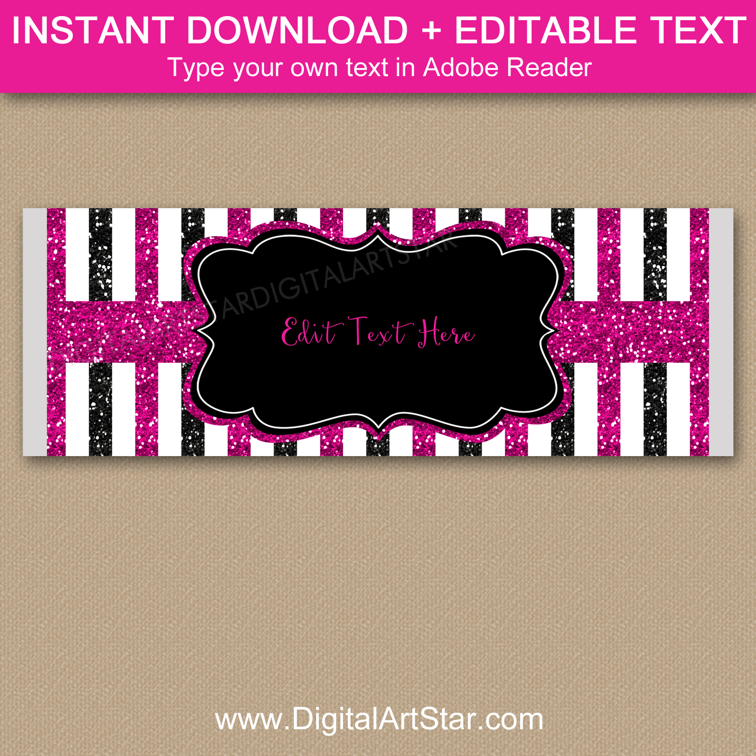 40th Birthday Candy Bar Wrappers Fuchsia Black White