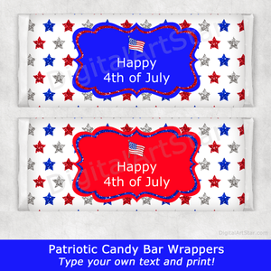 4th of July Candy Bar Wrappers with Red, White, and Blue Glitter Stars