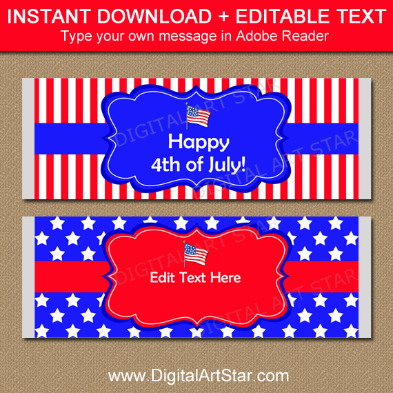 4th of July Chocolate Bar Wrappers in Red White and Blue