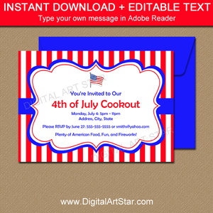 4th of July Cookout Invitations