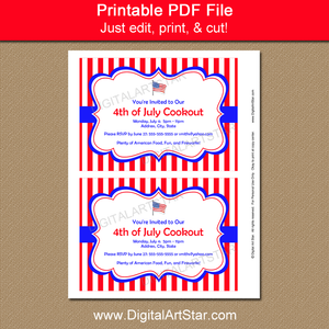 Printable Fourth of July Party Invites