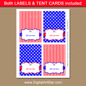 Red White and Blue Place Cards