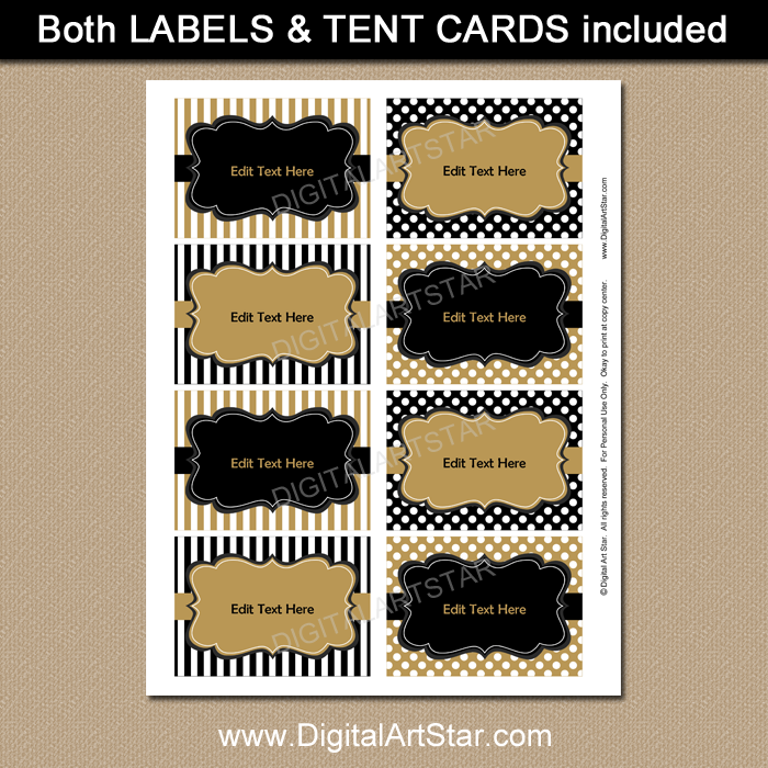 Black and Gold Printable Labels