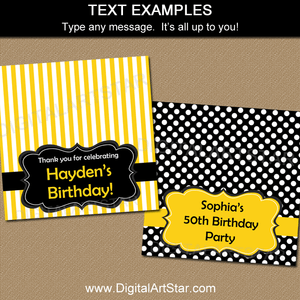 Birthday Treat Bag Toppers in Black and Yellow