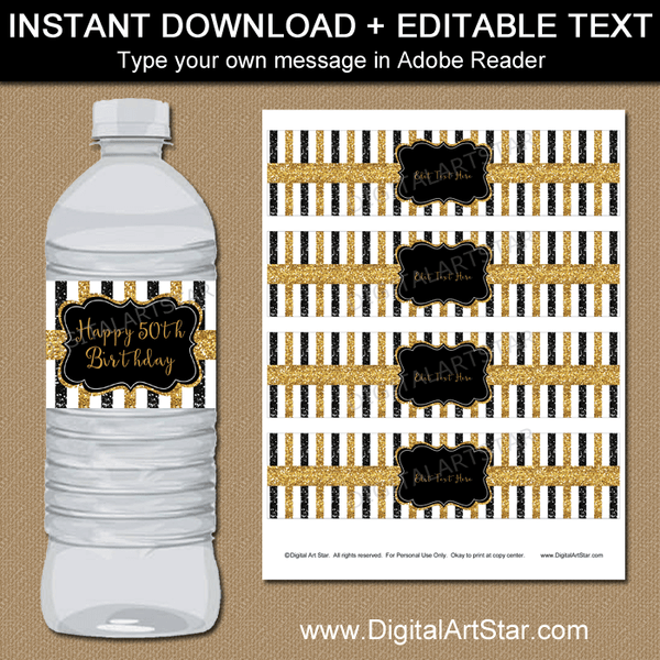 50th Birthday Water Bottle Labels With Glitter Digital