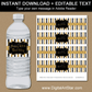 50th Birthday Water Bottle Labels - Black and Gold Glitter Stripes