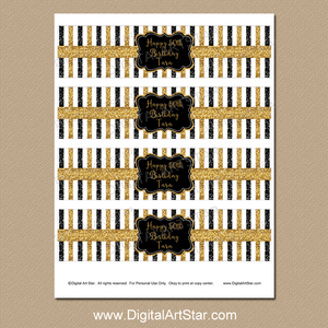 Personalized 50th Birthday Water Bottle Labels Black and Gold