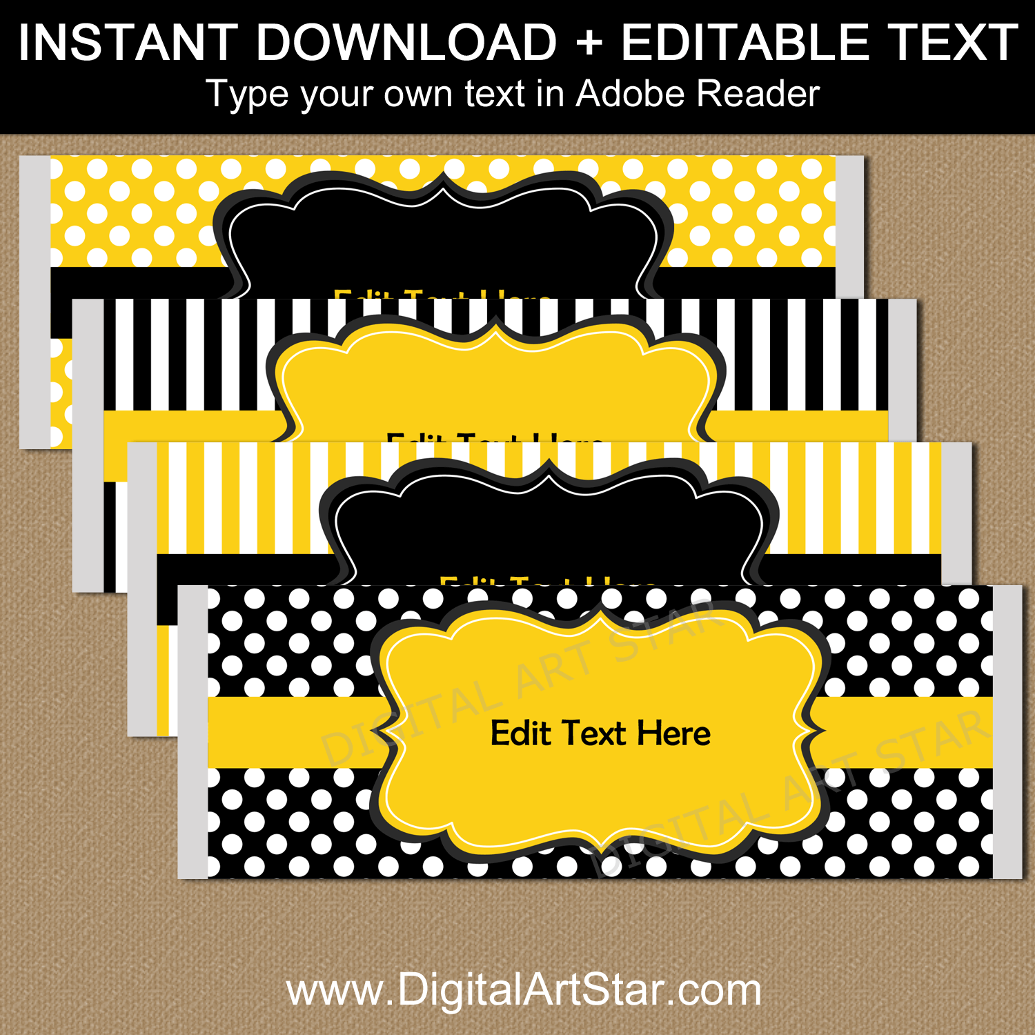 Black Yellow White Printable Candy Bar Wrapper Template