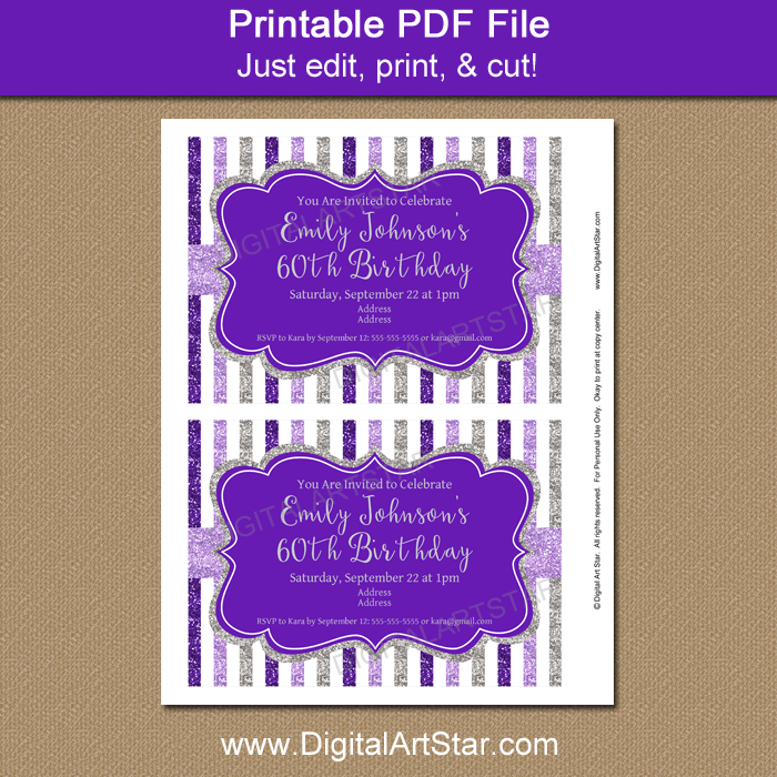Purple and Silver Invitation Template