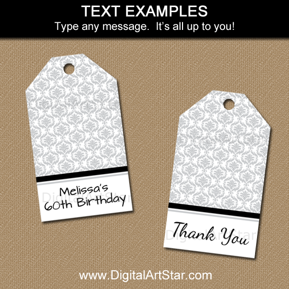 Editable Tags for Milestone Birthday, Anniversary, Wedding, More