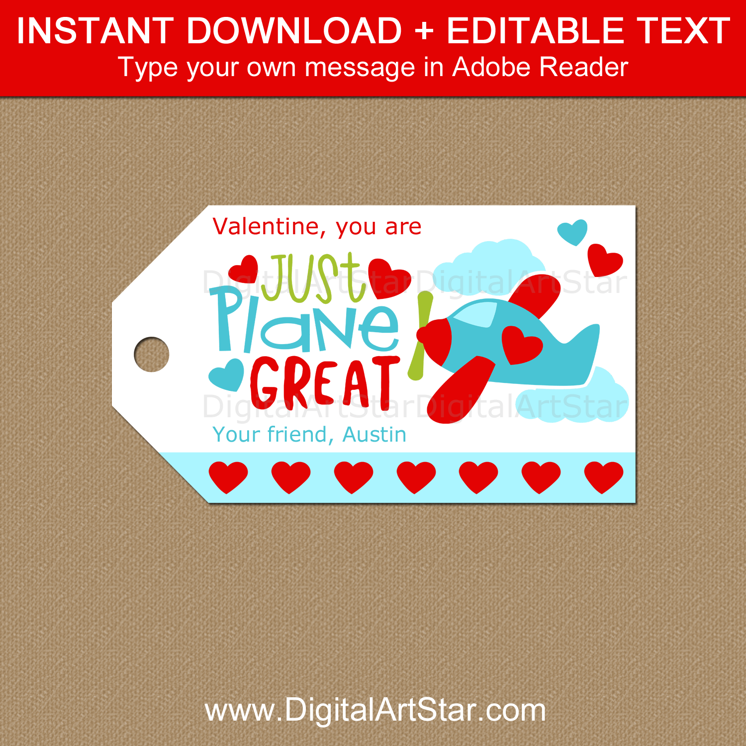 Airplane Valentine Tags Instant Download