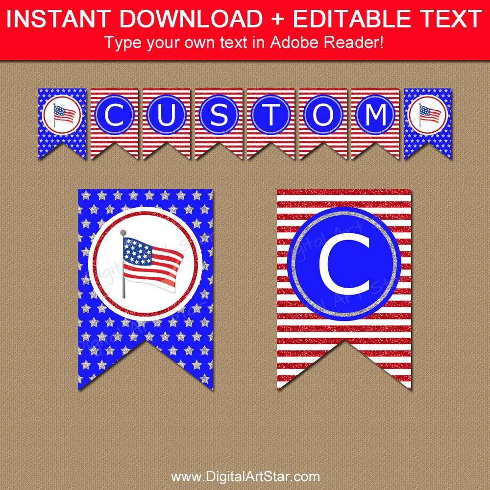 American Stars and Stripes Printable Banner Instant Download