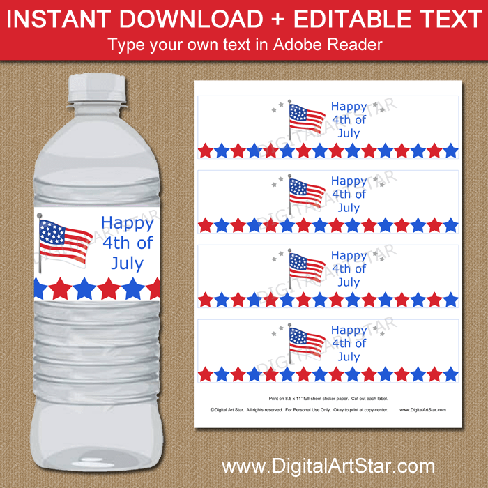 American Flag Water Bottle Labels Instant Download