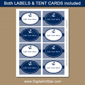 Navy Nautical Wedding Labels