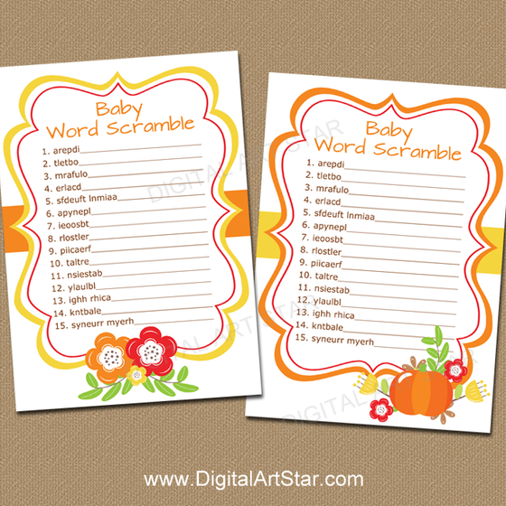 Instant Download Fall Baby Shower Word Scramble Game