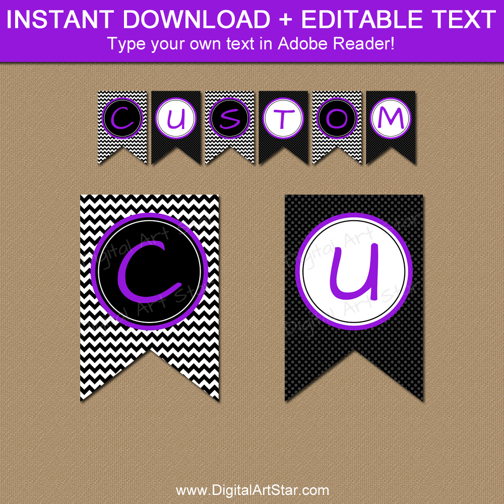 Banner Printable PDF Black White Purple - Editable Template