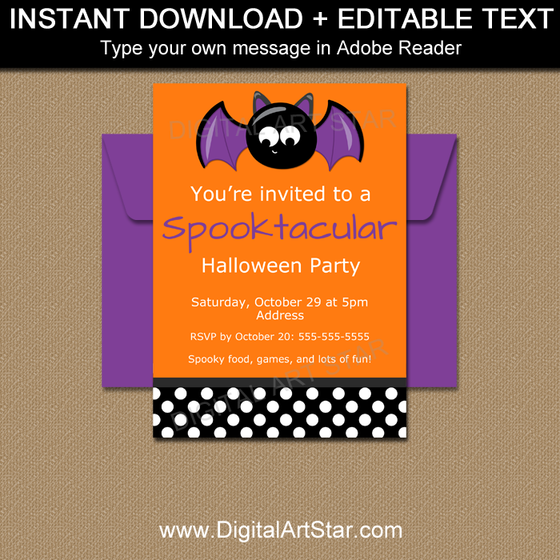 Editable Bat Halloween Invitation Template