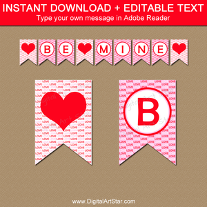 Be Mine Banner, Love Banner, Heart Banner in Pink and Red