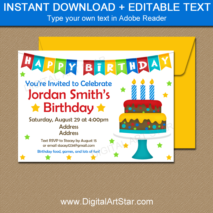 Birthday Cake Theme Invitation Template