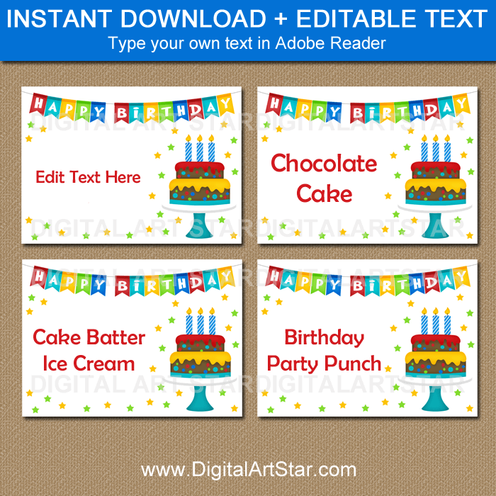 Editable Labels for Birthday Party Buffet