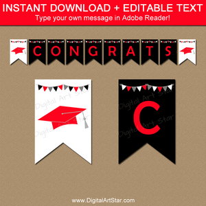 Black and Red Graduation Editable Banner Template