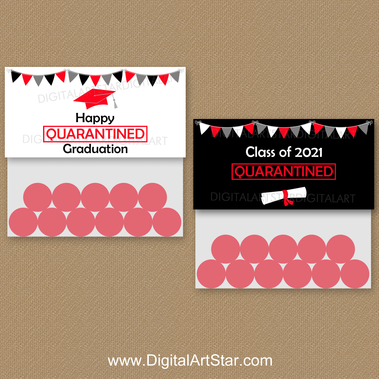 Black and Red Quarantine Graduation Favor Bag Toppers 2021