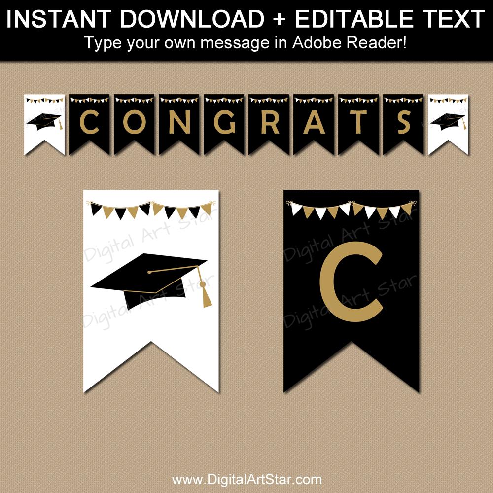 Black White Gold Graduation Banner Template