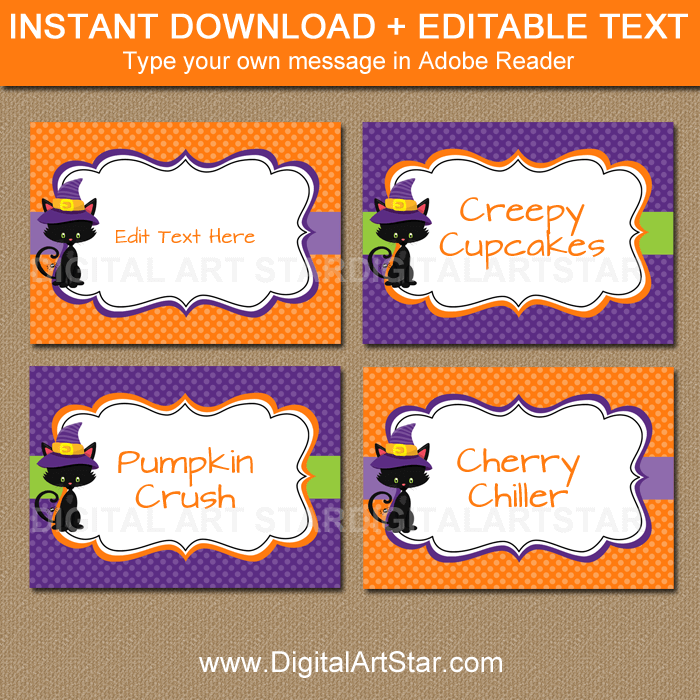 Black Cat Halloween Food Labels Editable Template