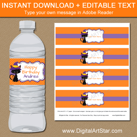 Editable Halloween Birthday Water Bottle Labels