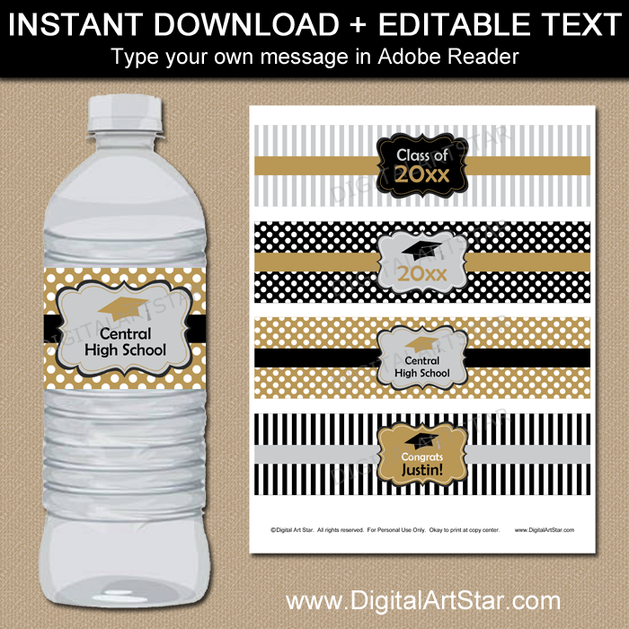 It's just a photo of Astounding Graduation Water Bottle Labels