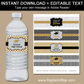 Black Gold Silver Graduation Water Bottle Label Template