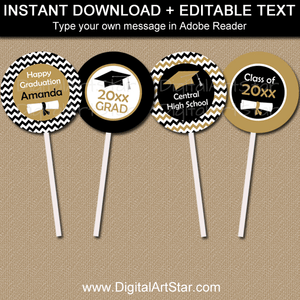 Black Gold White Graduation Cupcake Toppers Decorations
